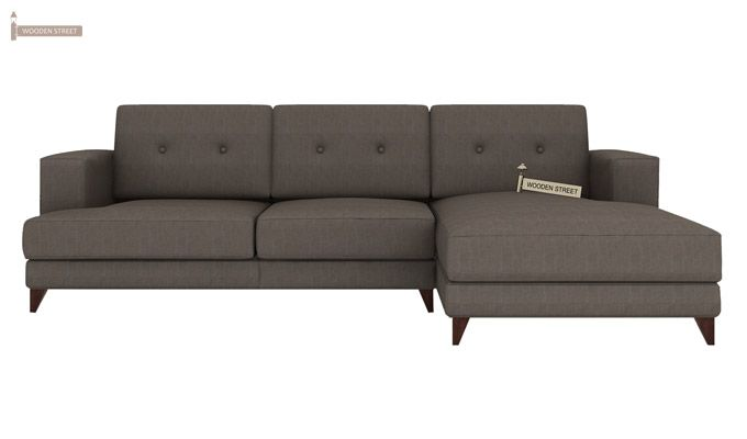 Robert L Shape Fabric Sofa (Coal Grey)-2