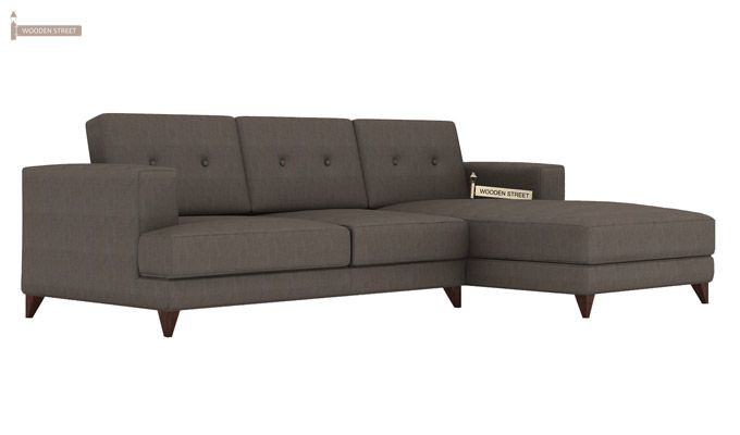 Robert L Shape Fabric Sofa (Coal Grey)-1