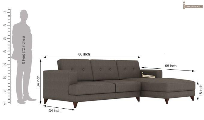 Robert L Shape Fabric Sofa (Coal Grey)-4