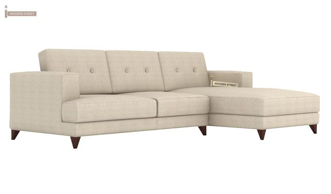 Robert L Shape Fabric Sofa (Ivory Nude)-1