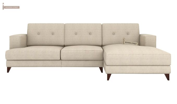 Robert L Shape Fabric Sofa (Ivory Nude)-2
