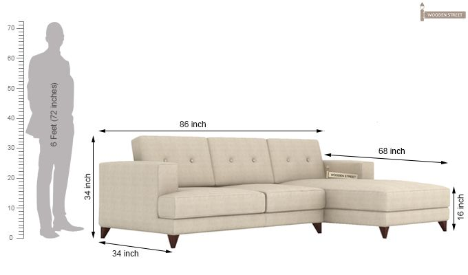 Robert L Shape Fabric Sofa (Ivory Nude)-4