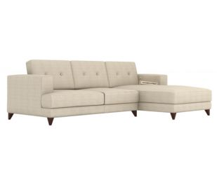 Robert L Shape Fabric Sofa (Ivory Nude)
