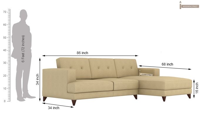 Robert L Shape Fabric Sofa (Irish Cream)-5