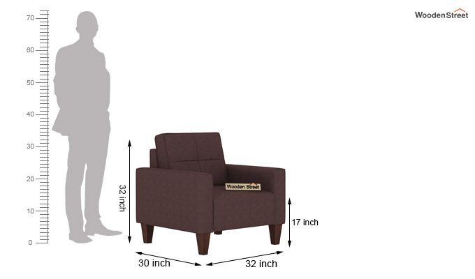Sibert 3+1+1 Seater Fabric Sofa Set (Classic Brown)-8