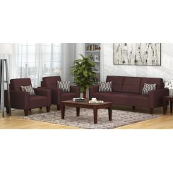 Sibert 3+1+1 Seater Fabric Sofa Set (Classic Brown)