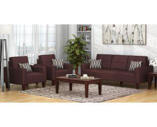 Sibert 3+1+1 Seater Fabric Sofa Set (Classic Brown)