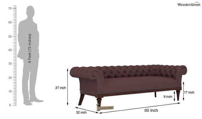 Swanson Chesterfield Sofa (Fabric, Classic Brown)-5
