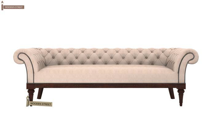 Swanson Chesterfield Sofa (Leatherette, Rose White)-2