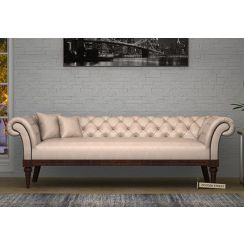 Swanson Chesterfield Sofa (Leatherette, Rose White)