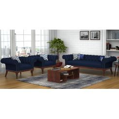 Swanson 3+1+1 Fabric Sofa Set  (Indigo Ink)