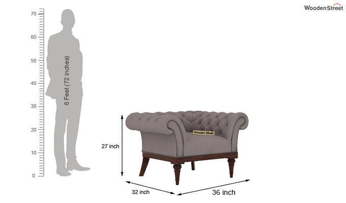 Swanson 1 Seater Sofa (Fabric, Warm Grey)-3