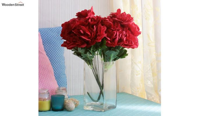 Camelia Red Flowers Bunch Set of 2-1