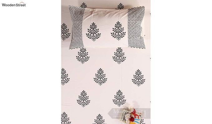Black Fern Hand Block Print Bed Sheet With Pillow Covers-3