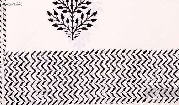 Black Fern Hand Block Print Bed Sheet With Pillow Covers-5