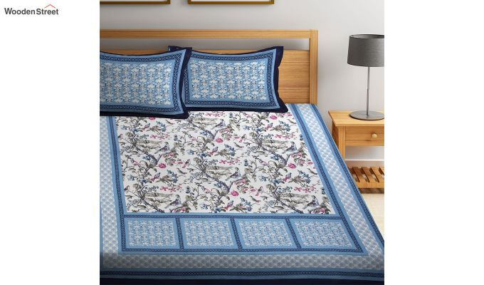 Blue and White Screen Block Print Double Bed Sheet With Pillow Covers-1