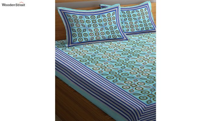 Blue Floral Print Double Bed Sheet With Pillow Covers-2