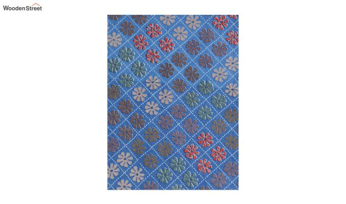 Blue Screen Print Floral Pattern Double Bed Sheet With Pillow Covers-4