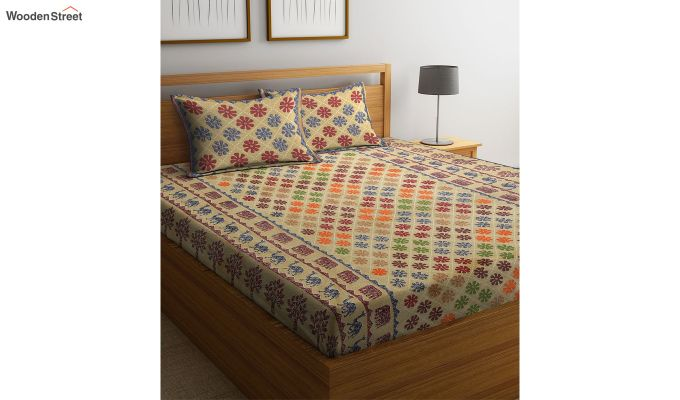 Brown Screen Print Jaipuri Double Bed Sheet With Pillow Covers-2