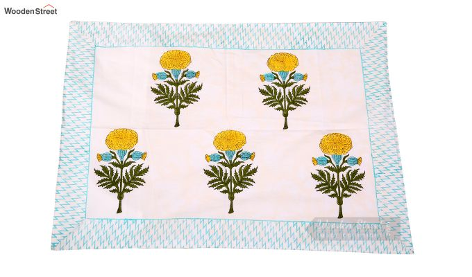 Citrus Marigold Hand Block Print Bed Sheet With Pillow Covers-3