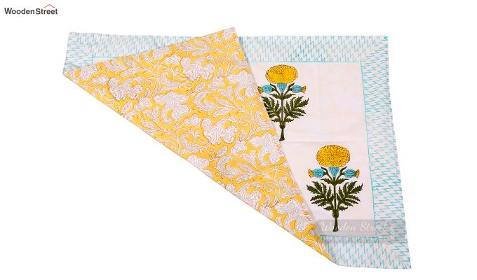 Citrus Marigold Hand Block Print Bed Sheet With Pillow Covers-4