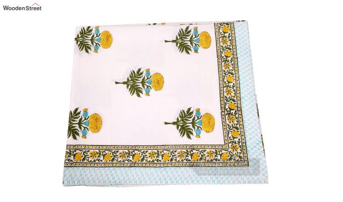 Citrus Marigold Hand Block Print Bed Sheet With Pillow Covers-5