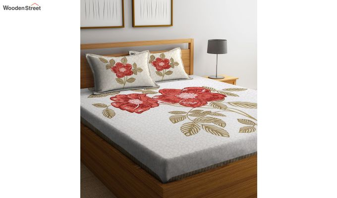 Cream and Orange Screen Print Double Bed Sheet With Pillow Covers-2