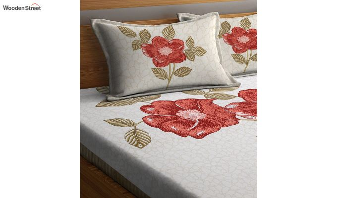 Cream and Orange Screen Print Double Bed Sheet With Pillow Covers-3