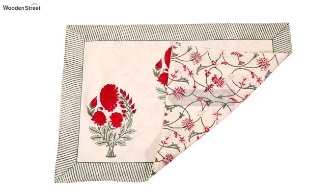 Dandy Red Hand Block Print Bed Sheet With Pillow Covers-4