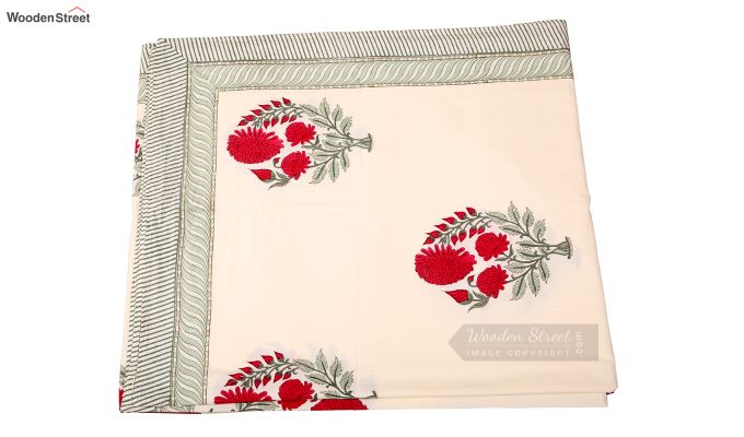 Dandy Red Hand Block Print Bed Sheet With Pillow Covers-5