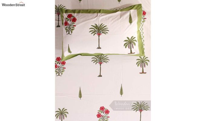 Date Palm Hand Block Print Bed Sheet With Pillow Covers-4