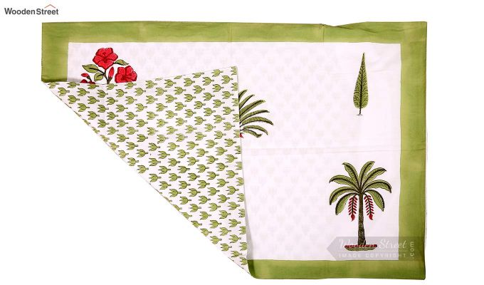 Date Palm Hand Block Print Bed Sheet With Pillow Covers-6