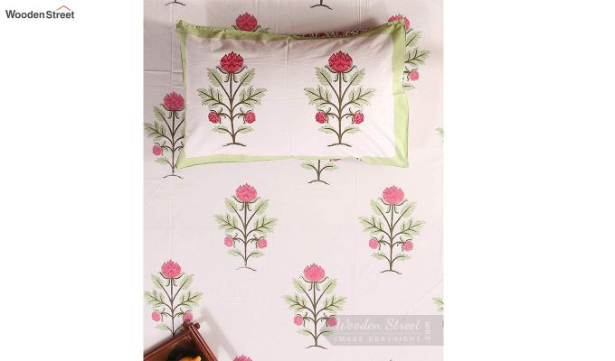 Forest Sprout Hand Block Print Bed Sheet With Pillow Covers-3