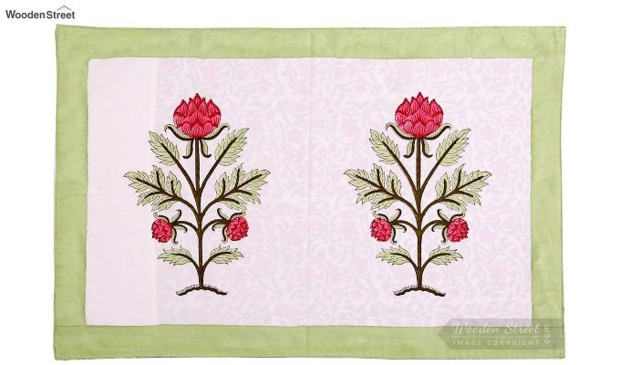 Forest Sprout Hand Block Print Bed Sheet With Pillow Covers-5
