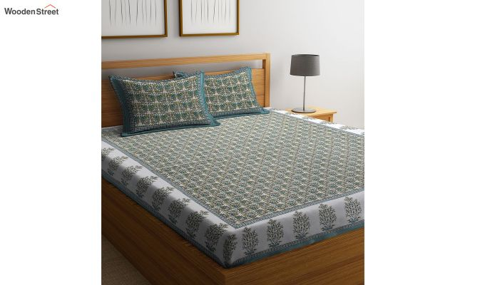 Green Screen Block Print Double Bed Sheet With Pillow Covers-1
