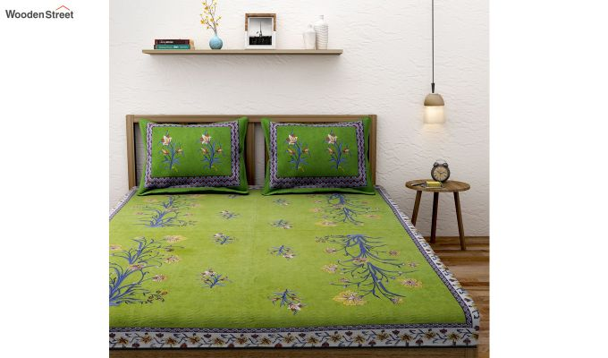 Green Screen Block Print Floral Double Bed Sheet With Pillow Covers-1