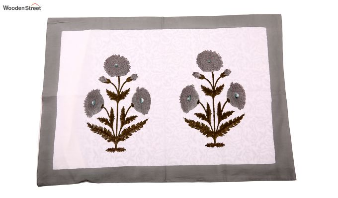 Grey Marigold Hand Block Print Bed Sheet With Pillow Covers-4
