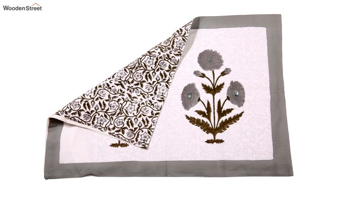 Grey Marigold Hand Block Print Bed Sheet With Pillow Covers-5