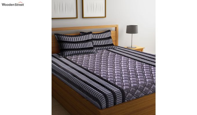 Grey Screen Print Double Bed Sheet With Pillow Covers-1