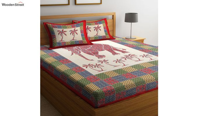 Multicolour Screen Block Print Double Bed Sheet With Pillow Covers-1