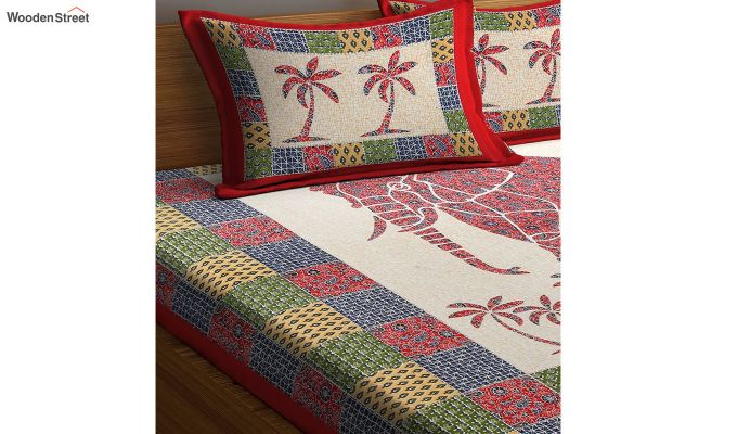 Multicolour Screen Block Print Double Bed Sheet With Pillow Covers-3