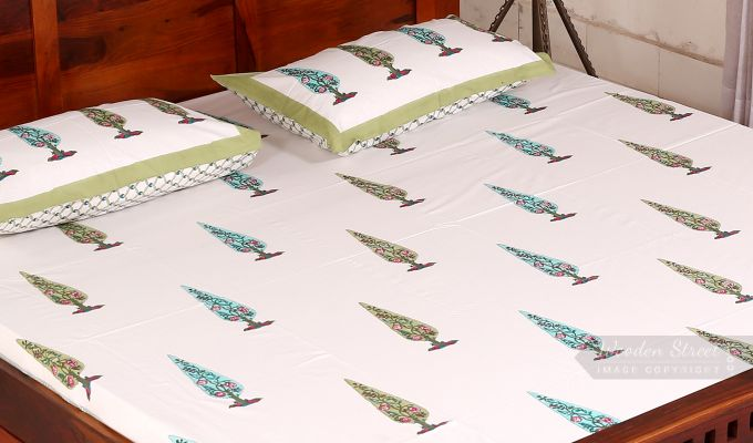 Olive Pine Hand Block Print Bed Sheet With Pillow Covers-1