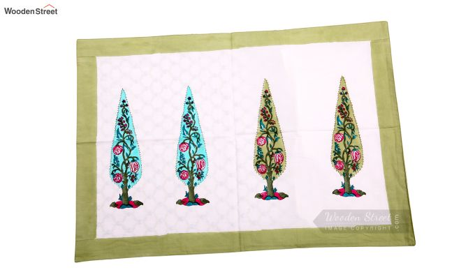 Olive Pine Hand Block Print Bed Sheet With Pillow Covers-3