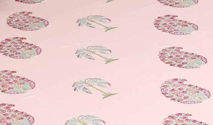 Petal Palm Hand Block Print Bed Sheet-2