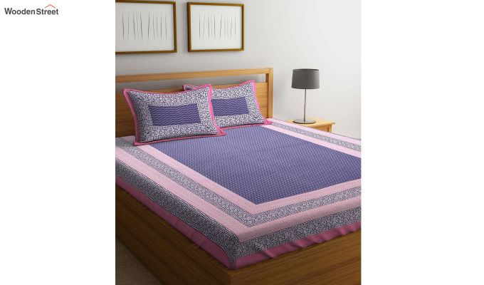 Pink and Indigo Screen Block Print Double Bed Sheet With Pillow Covers-1