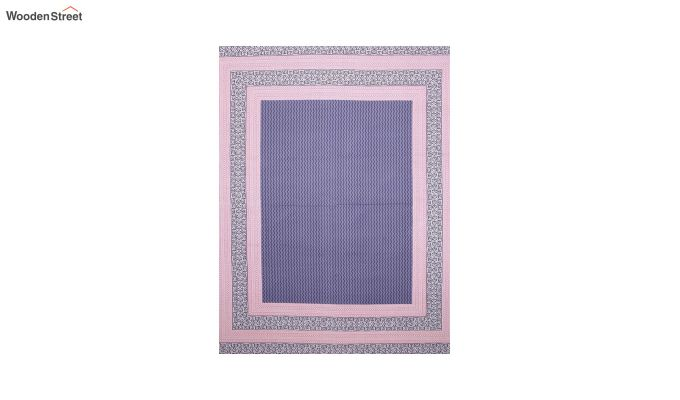 Pink and Indigo Screen Block Print Double Bed Sheet With Pillow Covers-4
