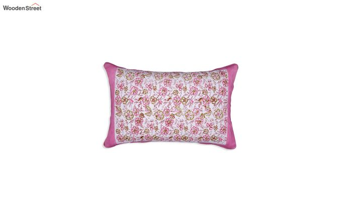 Pink and White Sanganeri Block Print Double Bed Sheet With Pillow Covers-2
