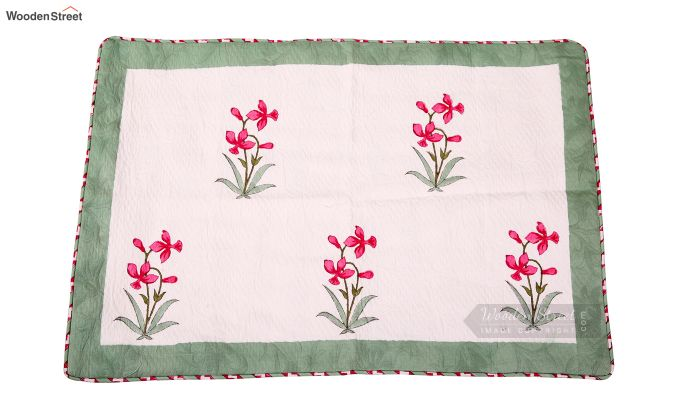 Pink Daffodils Hand Block Print Quilt With Pillow Covers-3