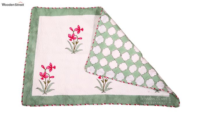 Pink Daffodils Hand Block Print Quilt With Pillow Covers-4