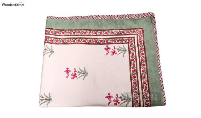 Pink Daffodils Hand Block Print Quilt With Pillow Covers-5